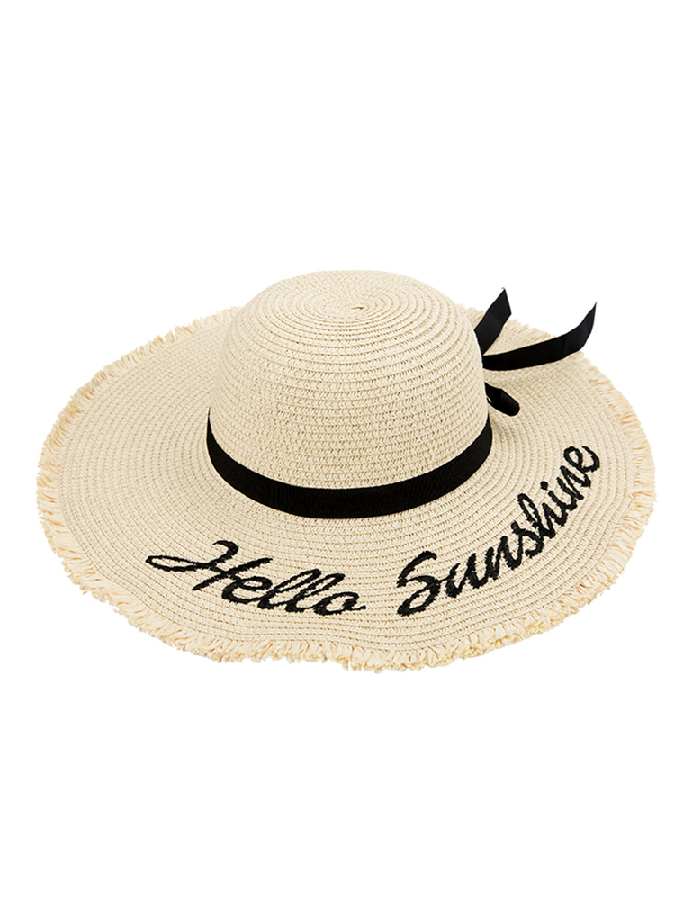 H350d5ac5edae42b5b2841782cbc60322Z - Handmade Weave letter Sun Hats For Women Black Ribbon Lace Up Large Brim Straw Hat Outdoor Beach hat Summer Caps Chapeu Feminino