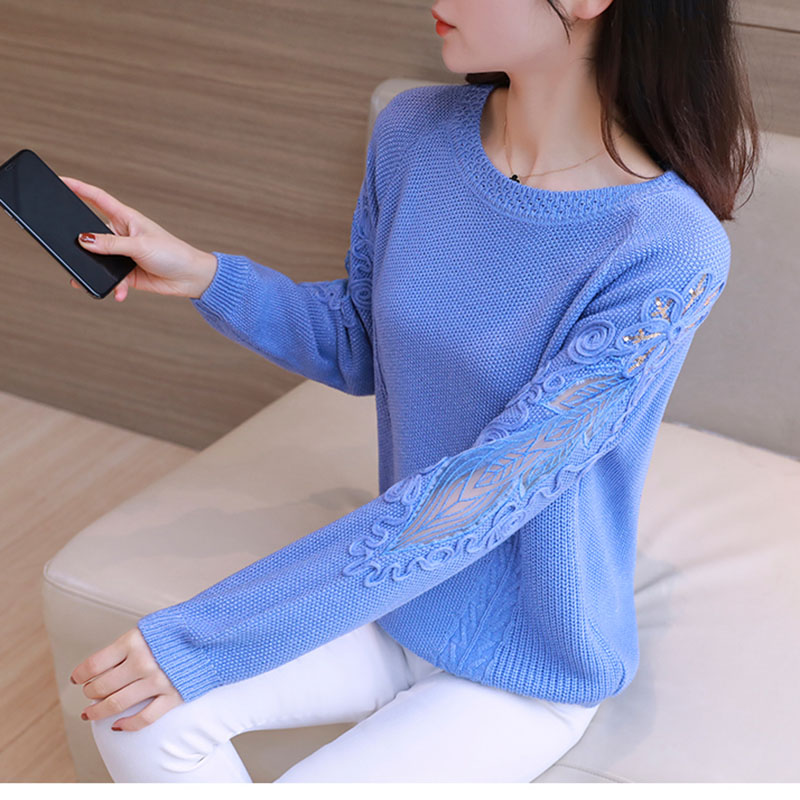 2020 Spring Female Knitted Pullover Sweater O-Neck Long Sleeve Pull Jumper Ladies Thin Lace Pull Tops Women Fashhion Jumper