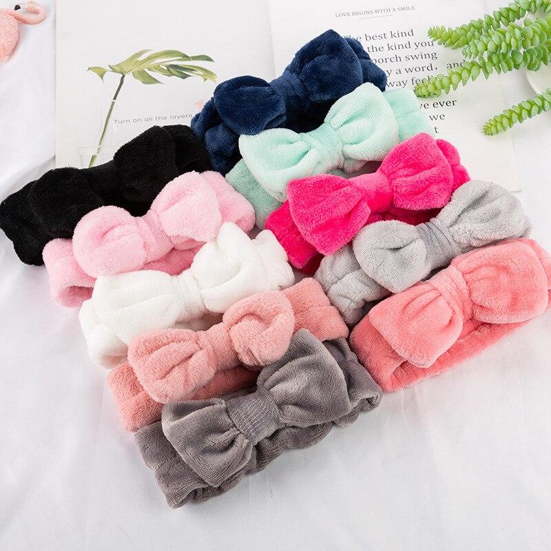 Coral Fleece Hairbow Cross Headband For Wash Face Makeup Lady Bath Mask Cosmetic Hairband Elastic Soft Turban Hair Accessories