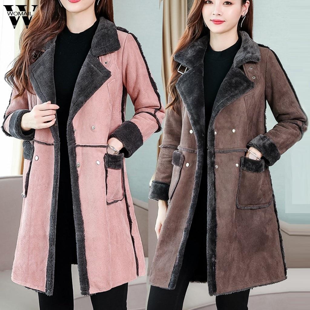 Womail femmes manteau hiver laine veste femmes bureau travail Long manteau mode dame mince revers à manches longues veste bouton élégant manteau