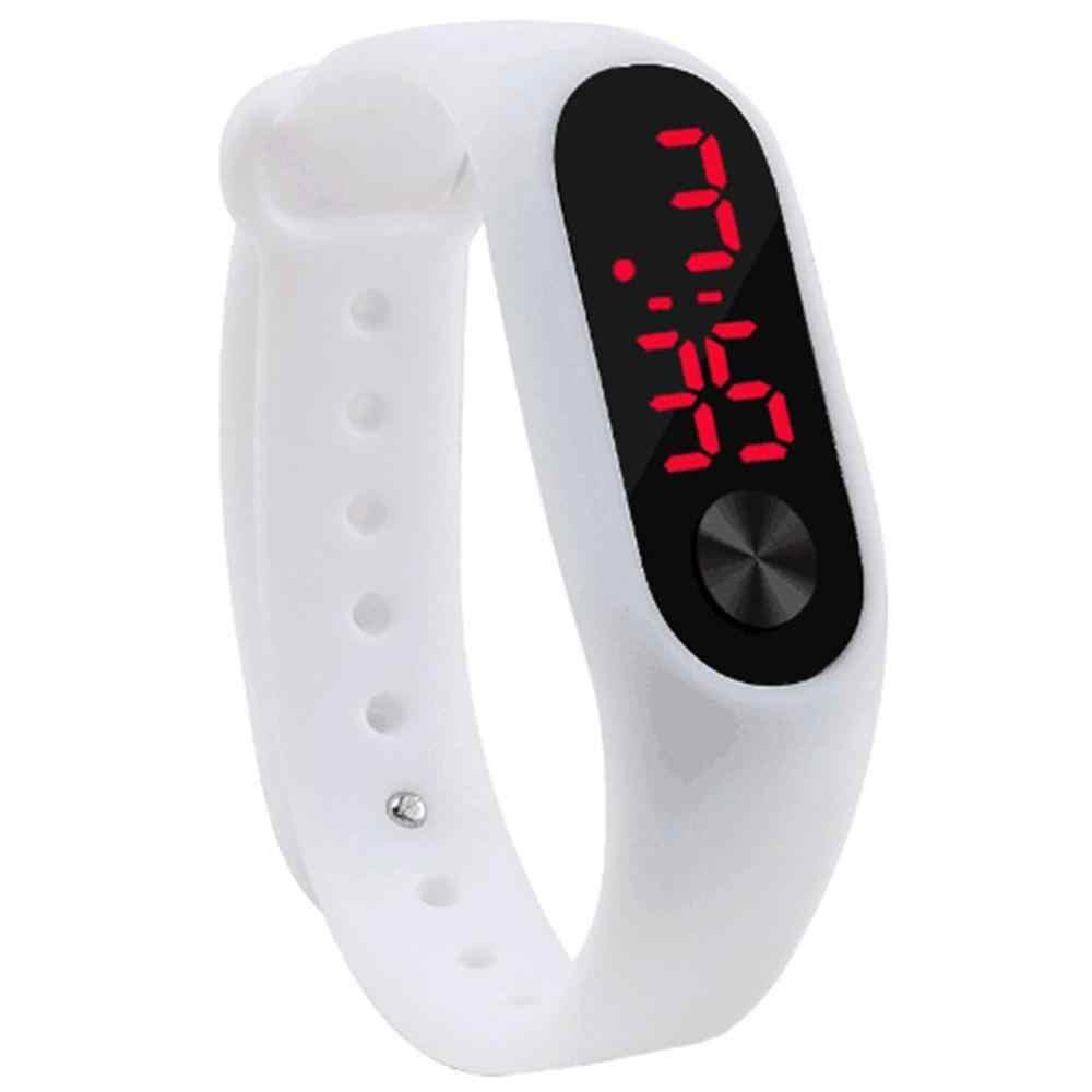 男性女性カジュアルブレスレットの腕時計白色 Led 電子デジタルキャンディーカラーシリコン腕時計子供のための