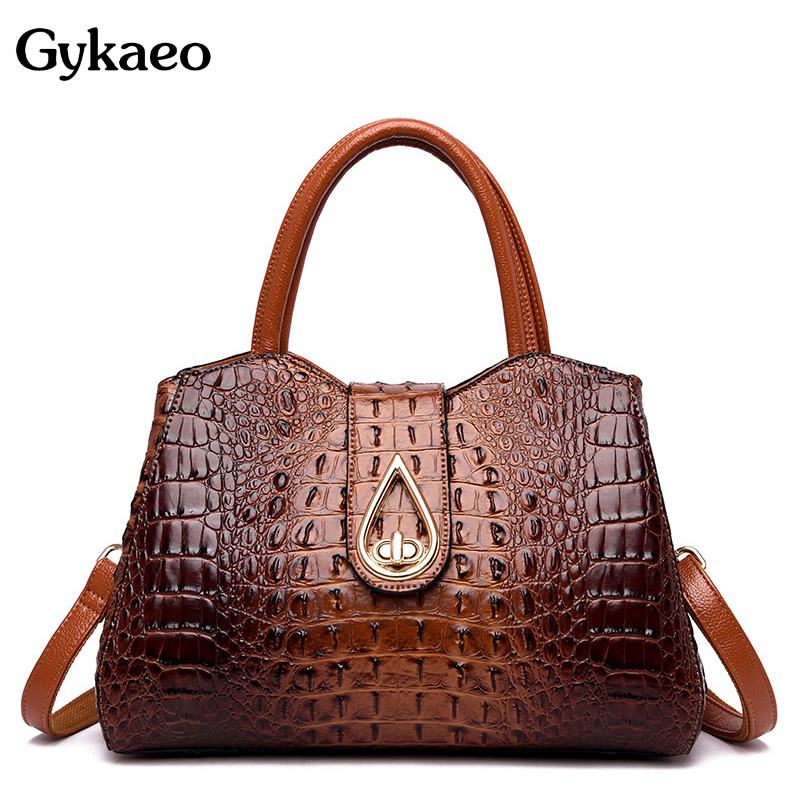 Gykaeo Luxury Handbags Women Bags Designer Fashion Crocodile Pattern Tote Bag Ladies Large Capacity Shoulder Bags Bolsa Feminina