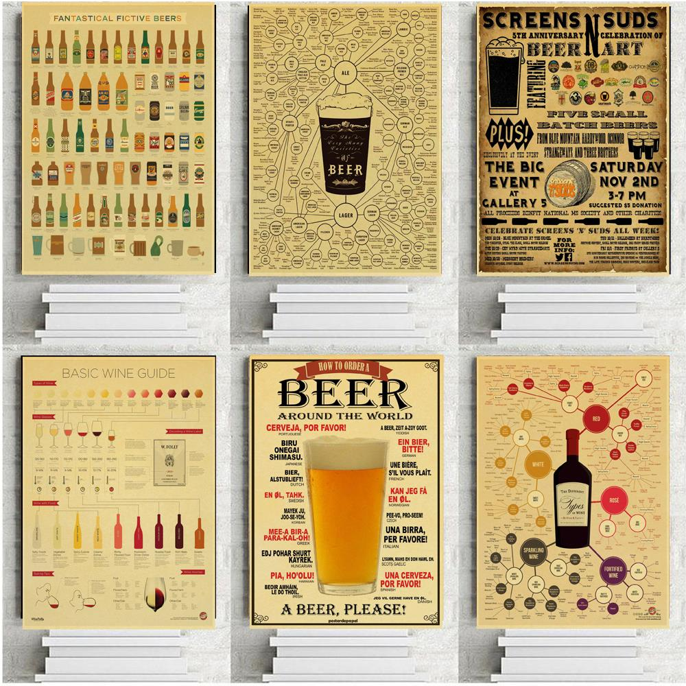 poster wall sticker beer figure decoration kraft paper poster  home wall dec RAC