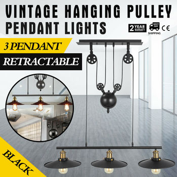Industrial Vintage Hanging Retractable Pulley Pendant Light Holder 1/2/3 Heads Chandeliers Lamp Fixture AC100-240V for E27 Bulb