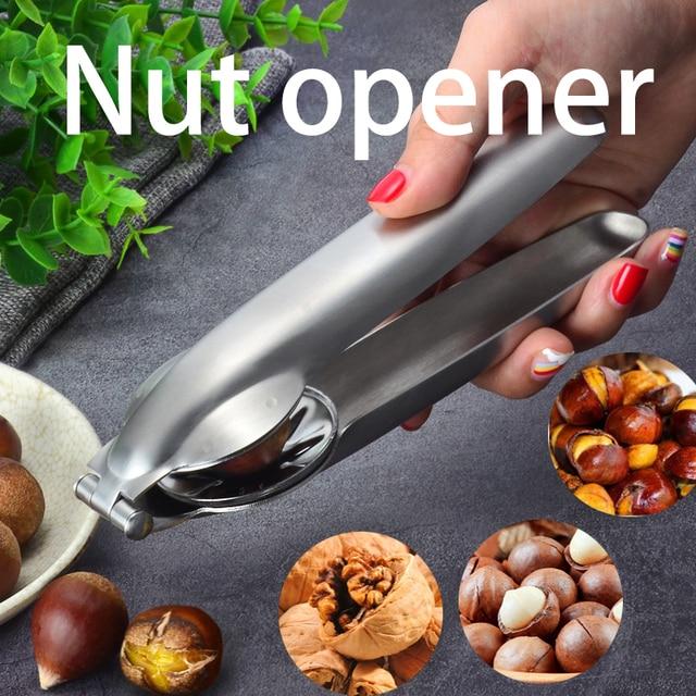 2 in 1 Stainless Steel Quick Nuts Cracker Kitchen Tools Chestnut Clip Walnut Pliers Metal Sheller Nut Opener Cutter Gadgets