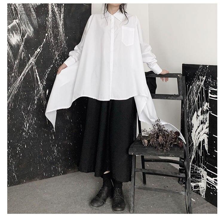 New Fashion Style Solid Black Lapel Long Sides Blouse Fashion Nova Clothing