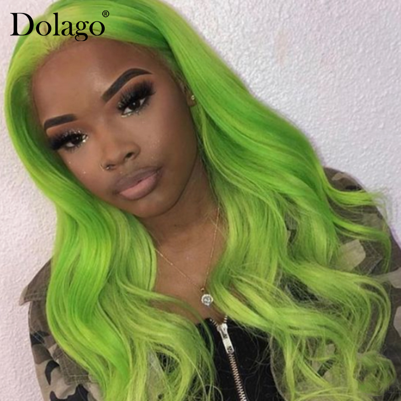 Green Body Wave Lace Front Human Hair Wigs Brazilian Wig Human Hair For Woman Pre Plucked Dolago Colorful Wig Remy