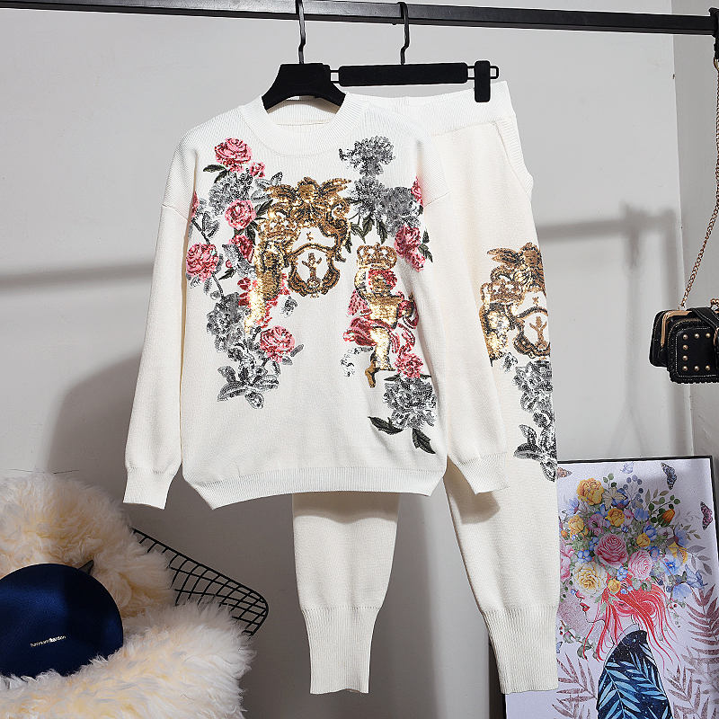 New Autumn Winter Tops Women Pants Set Korean Sequin Embroidery Flower Loose Knitted Sweater + Harem Pants Two Piece Set Women