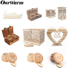 OurWarm Rustic Wedding Decoration Heart Tree Guest Book Chocolate Stand Ring Box Wooden Card with Lock Vintage Gifts