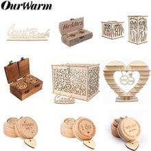 OurWarm, decoración rústica de boda, libro de invitados de árbol con corazón, caja de anillo con soporte de Chocolate, caja de tarjeta de madera con cerradura, regalos de boda Vintage