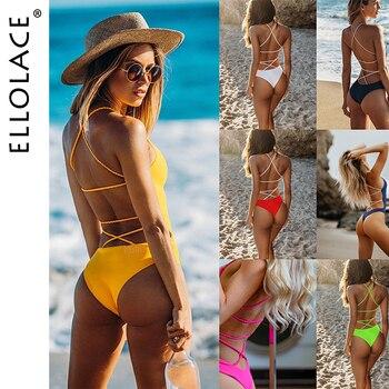 Ellolace Sexy sin espalda vendaje cuerpo de Bikini traje de baño trajes de mujer traje de playa de traje de baño mujer Biquini de baño