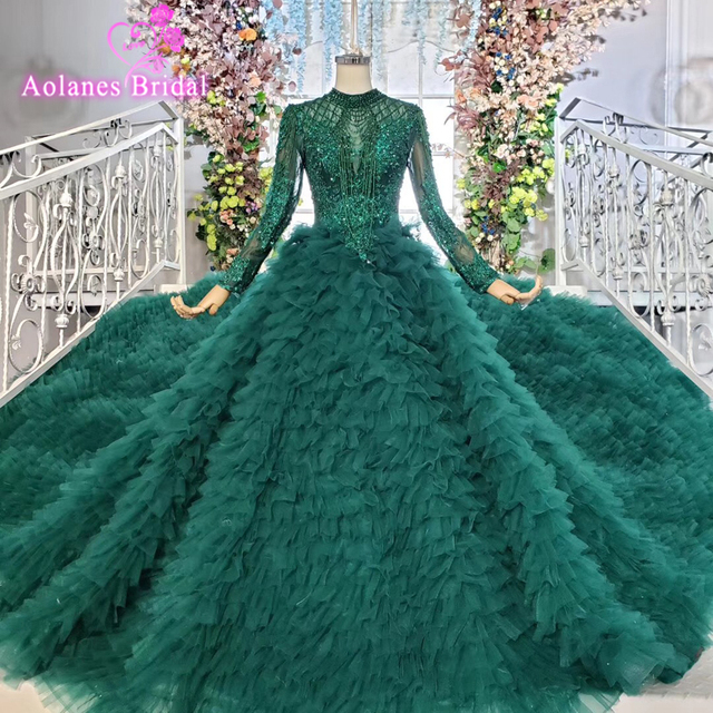 Tier שכבה חצאיות ארוך רכבת ירוק כדור שמלת חתונת שמלות 2019 ראפלס כלה חתונה שמלת טול Tessal חתונה שמלות
