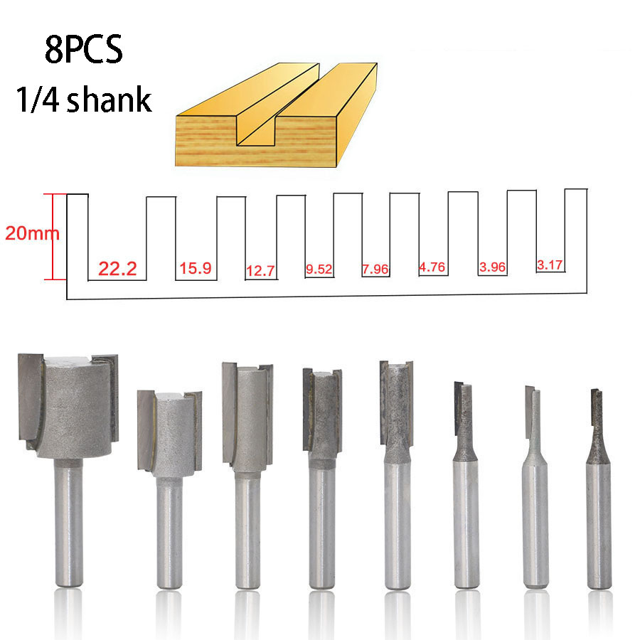 8PCS 1/4 Shank 6.35MM High Quality Straight/Dado Router Bit For Wood Set Diameter Cnc Wood Milling Cutter