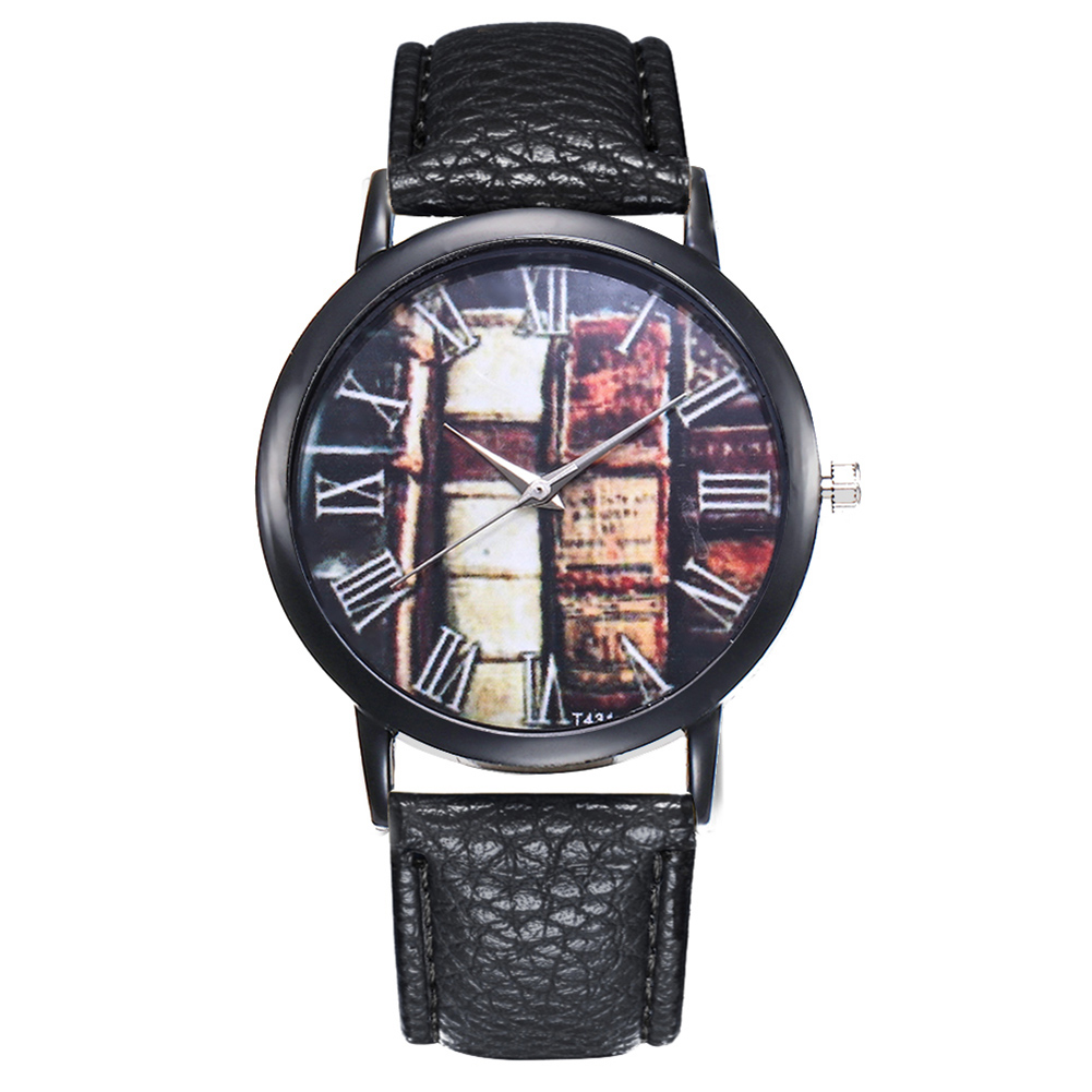 Quartz Watch Women Round Dial Wrist Watch With Leather Strap Business Travel Couple Casual Watches LL@17