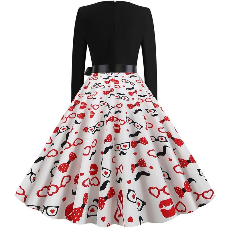 Women Long Sleeve Winter Vintage Dresses Sexy Black Music Note Print V-neck Rockabilly Pin up Party Dress Vestidos Plus size 621