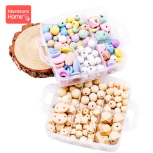 1set Baby Teether Wooden Beads Set DIY Nurse Birth Gift Pacifier Clip Chain Pendant Blank Rodent Silicone Rings Toy