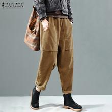 Kobiety jesień w pasie spodnie sztruksowe jednolity kolor długi spodnie ZANZEA Vintage sztruksowe spodnie Harem luźna rzepa Pantalon Casual tanie tanio POLIESTER Pełna długość CN (pochodzenie) Na wiosnę jesień Women Pants Corduroy Pants Stałe Na co dzień Spodnie typu Harem