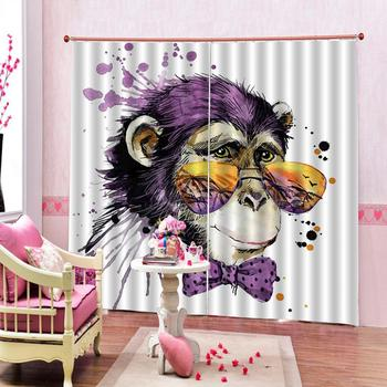 monkey curtains Customized size Luxury Blackout 3D Window Curtains For Living Room kids curtains