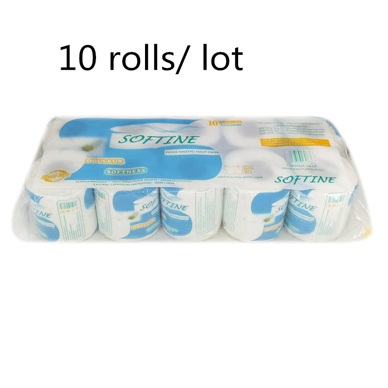 10 Rolls/Lot Toilet Roll Tissue Paper 3-ply Silky Smooth Soft Toilet Roll Tissue Paper Home Bath Toilet Roll Paper Droshipping