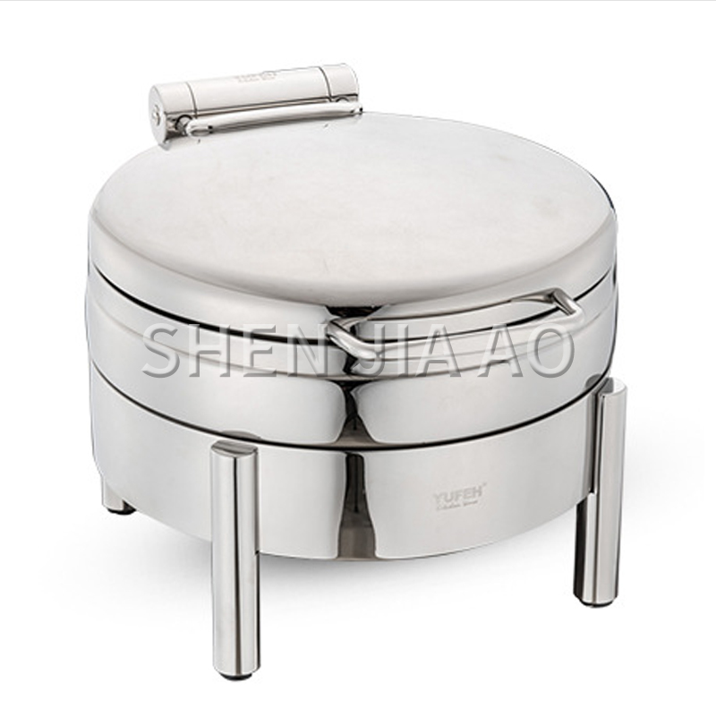 4L Stainless Steel Lid Sauce Stove Round Soup Stove Soup Sauce Sauce Container Round Glass Cover (for Induction Cooker) 1PC