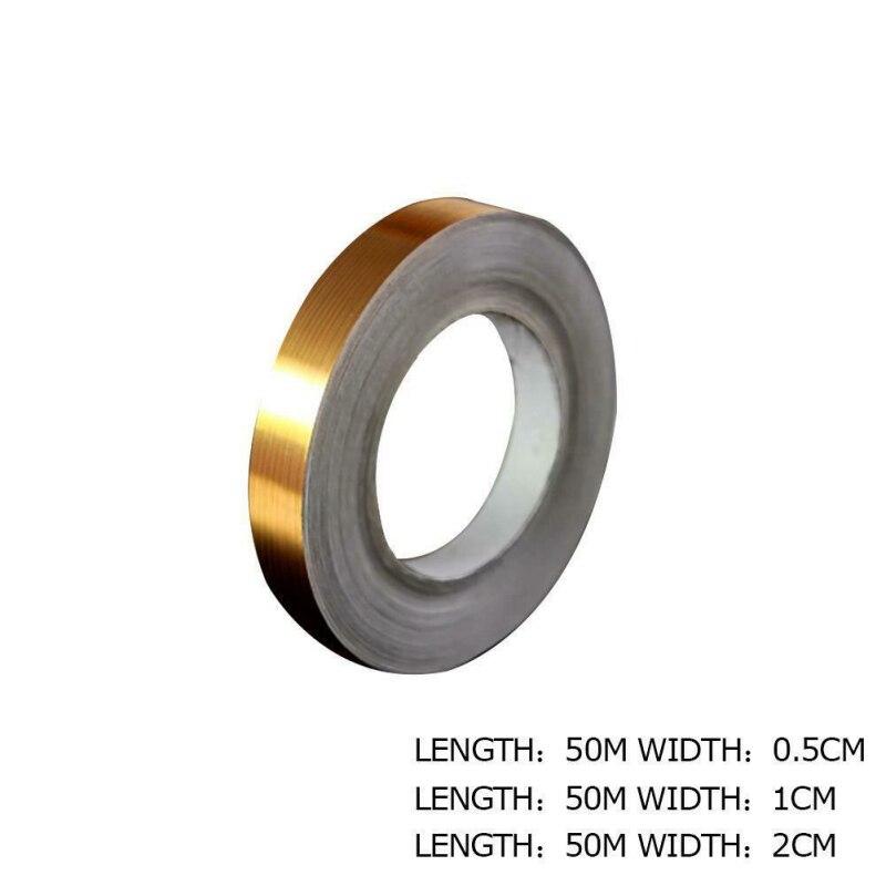0,5/1/2*5000 см Серебристая/Золотистая клейкая Полоса для напольной плитки, стикер для швов, водонепроницаемая уплотнительная лента для стен, за...
