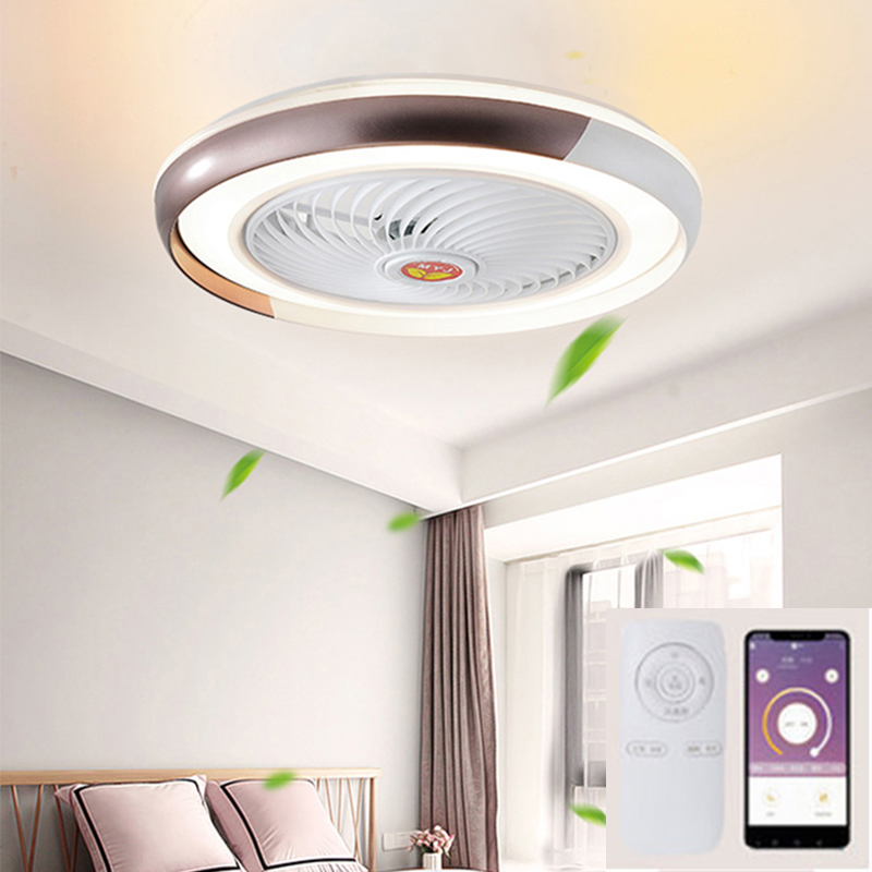 Suction dome light fan lamp with remote control mobile phone wi-fi indoor home decoration  smart ceiling fan with modern light