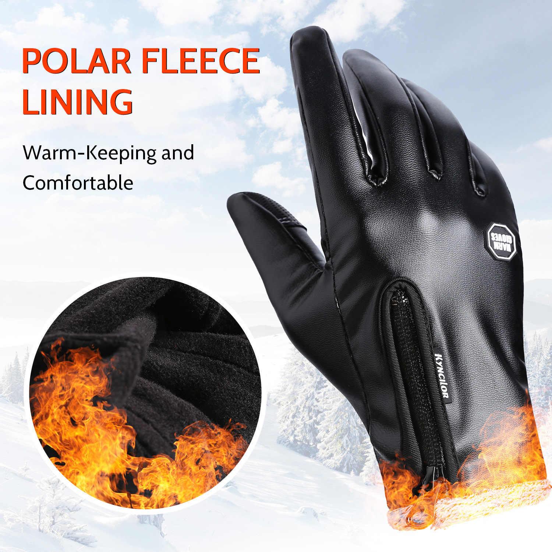 Inverno esportes ao ar livre moda pu luvas de couro tela quente-tocando luvas à prova dwindproof água esqui à prova de vento ciclismo luvas