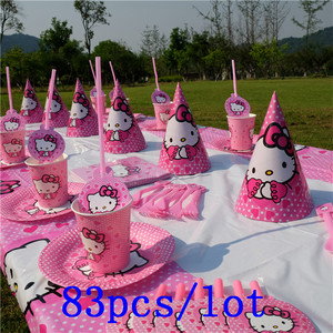 83Pcs/Lot Hello Kitty Theme Disposable Tableware Cup Plate Baby Shower Kid Birthday Wedding Party Decoration Party Supplies(China)