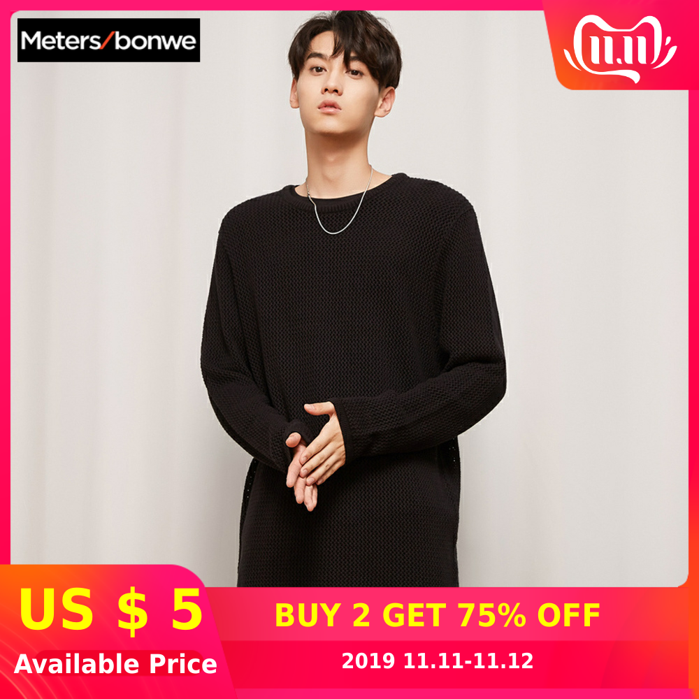 METERSBONWE New Autumn Winter Men Sweaters Round Neck Long-Sleeved Sweater Korean Fashion Hollow Sweater
