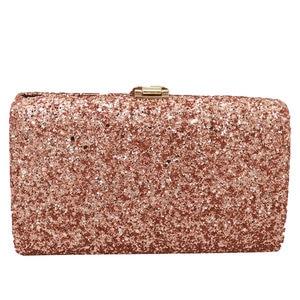 Image 2 - Boutique De FGG Pink Glitter Women Clutches Evening Bags Leaf Clasp Ladies Fashion Chain Shoulder Crossbody Handbags and Purses
