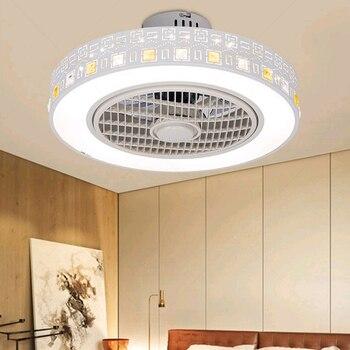 Потолочный вентилятор, светильник s, современный минималистичный светильник для ресторана, спальни, потолочный вентилятор, 220 В, пульт диста...