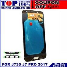 Super AMOLED lcd s для samsung Galaxy J7 Pro J730 J730F ЖК-дисплей с кодирующий преобразователь сенсорного экрана в сборе Контроль яркости