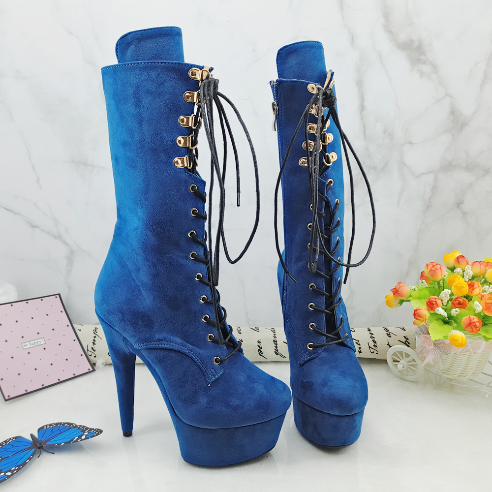 Leecabe Blue Suede 15CM/6inches Pole dancing shoes High Heel platform Boots closed toe Pole Dance booties