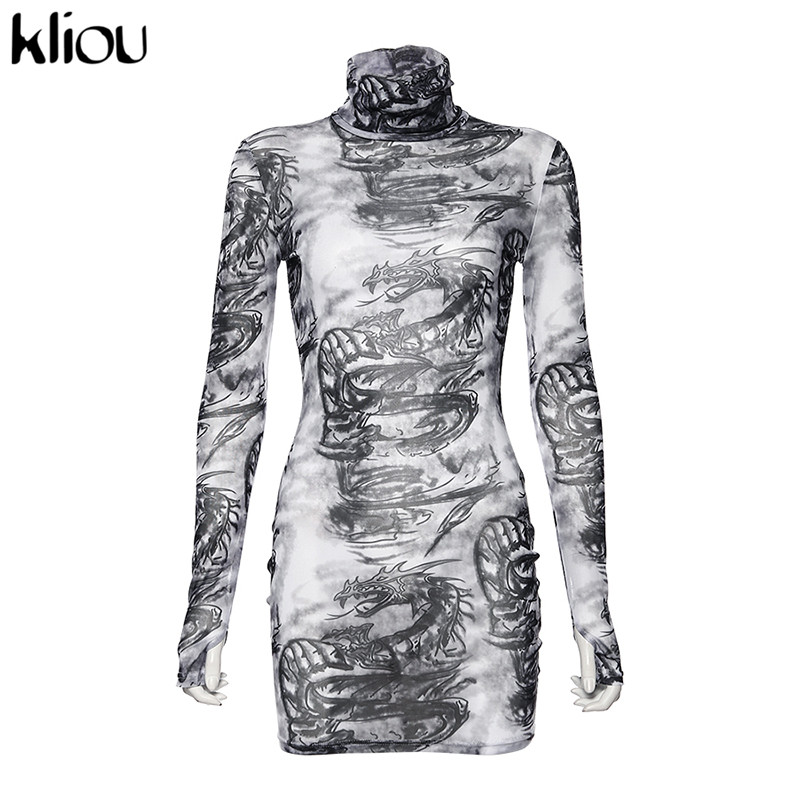 Kliou women turtleneck dress sexy mesh material print slim skinny dresses autumn new long sleeve female fashion skinny outfits 7