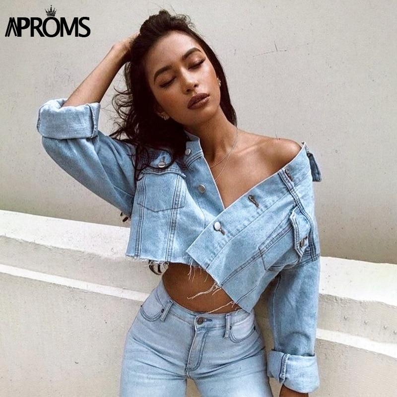 Aproms винтажная уличная Модная Джинсовая куртка с кисточками Женская осенне зимняя укороченная джинсовая куртка с карманами короткая верхня