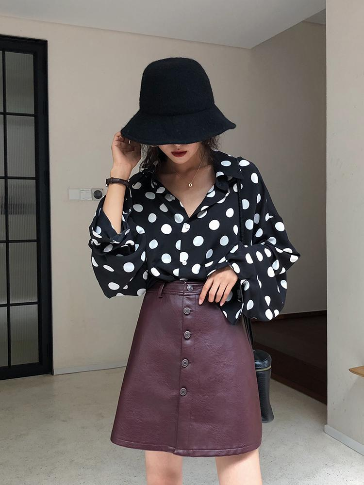Large GIRL'S Summer Wear Large GIRL'S Loose Polka Dot Long-sleeved Shirt Women's Plus-sized Casual Slimming