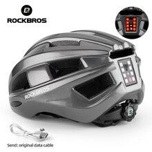 ROCKBROS-casco de ciclismo con luz trasera inteligente, iluminación LED integrada, alerta reflectante EPS + PC, cascos de bicicleta de montaña