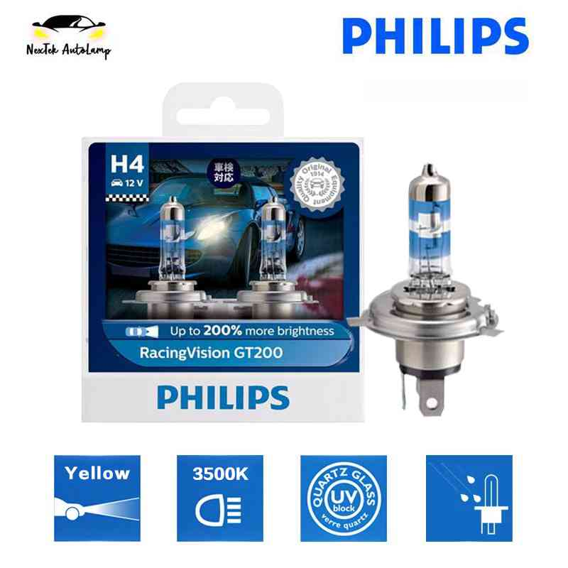 Philips Racing Vision GT200 H4 3500K Car Headlight Bulb Light Halogen +200% Yellow 12342RV
