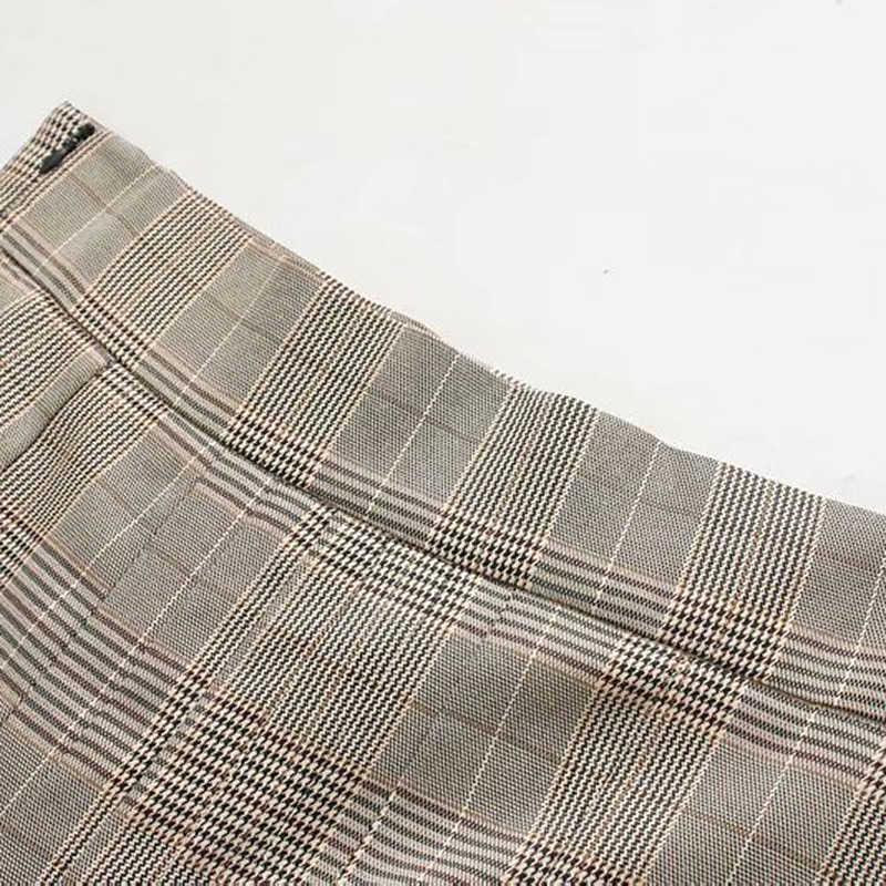 ミディロング格子縞のスカートのための女性のヴィンテージの A ラインプリーツスカート秋春ハイウエスト女性イングランドスカート段 Faldas Mujer