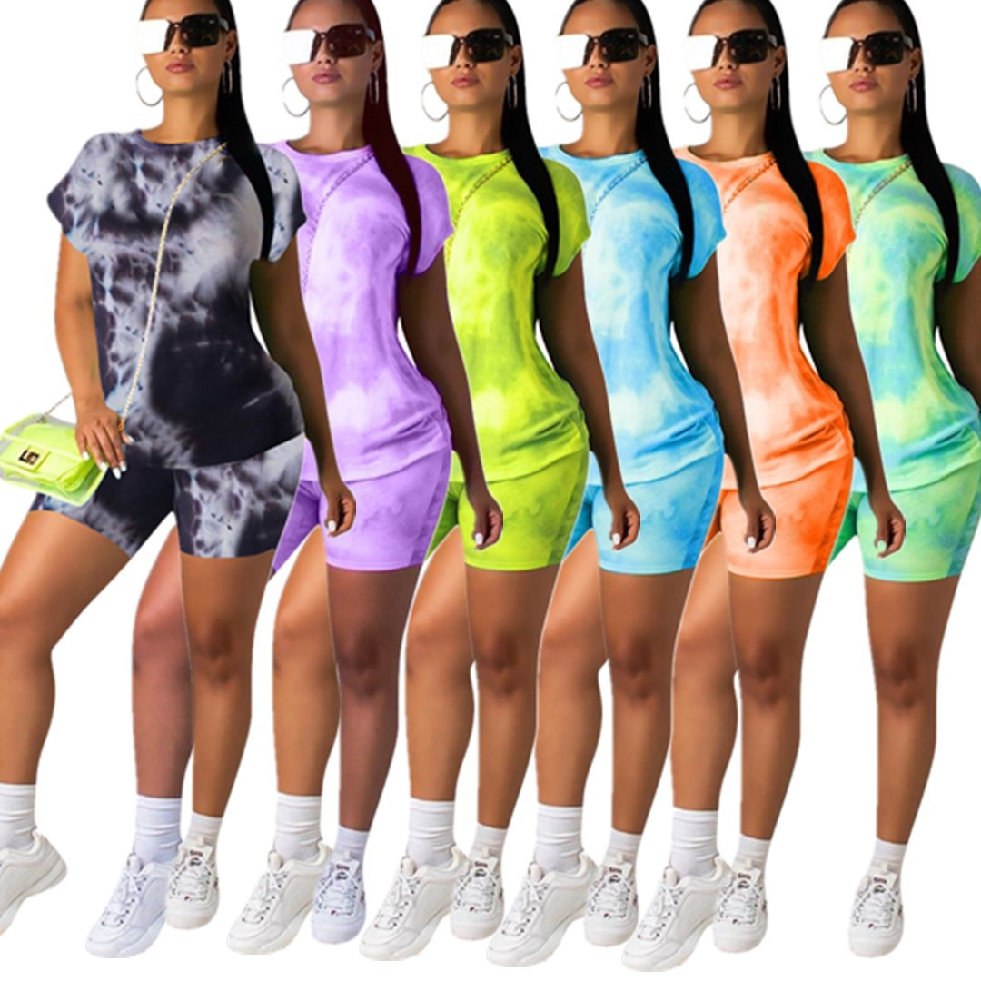 HAOYUAN Tie Dye Tracksuit Women 2 Piece Outfits Festival Clothing Short Sleeve Top And Biker Shorts Sweat Suit Two Piece Set