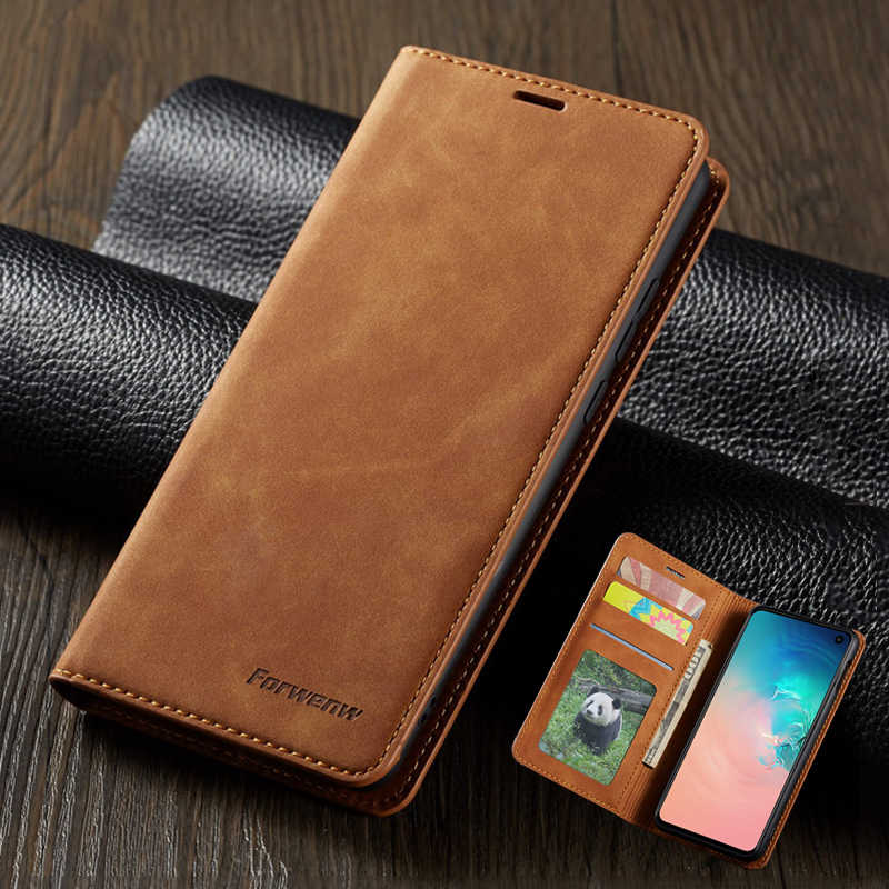 Leather Flip Case Voor Samsung A50 S10 S9 S8 S7 Note 9 10 20 S20 Ultra Plus A30 A20 A51 a71 A6 A7 A8 2018 Magnetische Wallet Cover