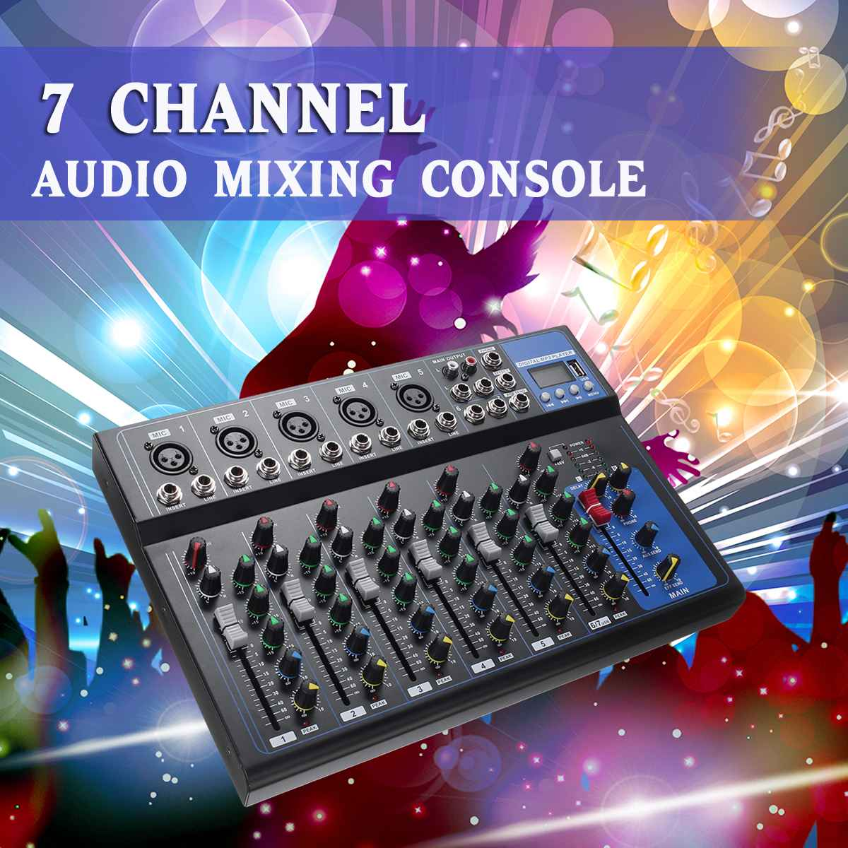 CLAITE Bluetooth Audio Mixer W/USB DJ Sound Mixing Console MP3 Jack 7 Channel Karaoke 48V Amplifier Karaoke KTV Match Party