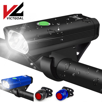 VICTGOAL Bike Light USB Rechargeable Bicycle Light Set Waterproof Cycling Front & Rear Lamp Headlight LED Flashlight For Bicycle motorcycle signal lamp rechargeable cycling light 5000 lumen 8 4v bicycle bike led front rear lamp set