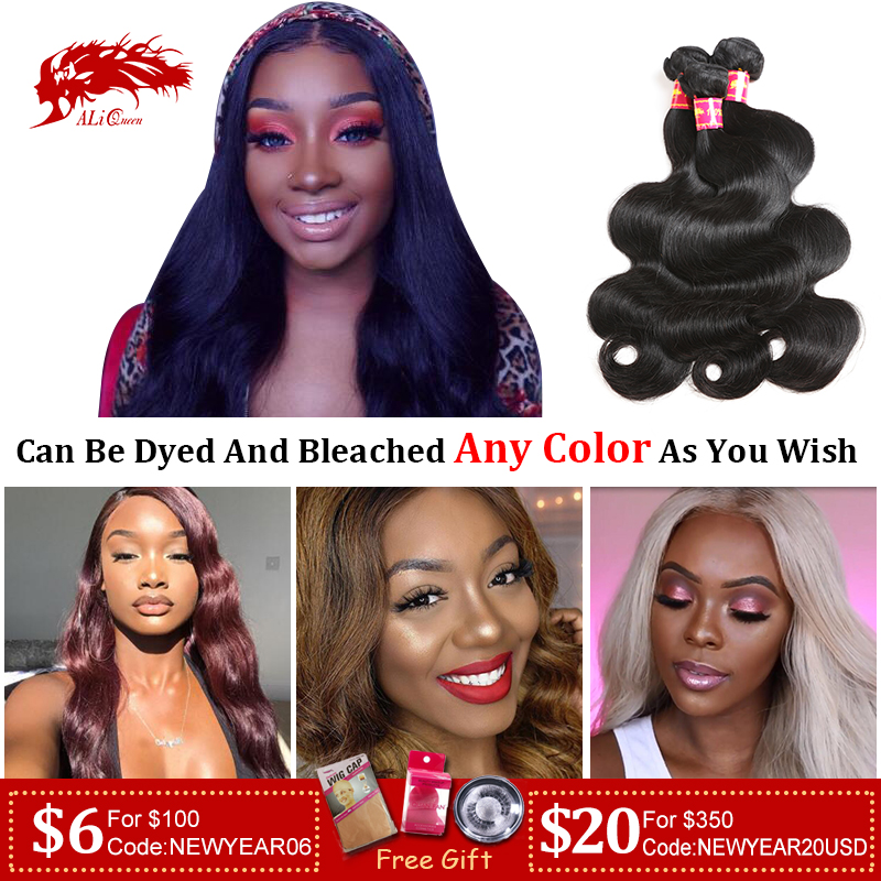 Ali Queen Hair Brazilian Raw Virgin Human Hair Body Wave Weaves Bundles Natural Black Color 100% Human Hair Weaving 6\