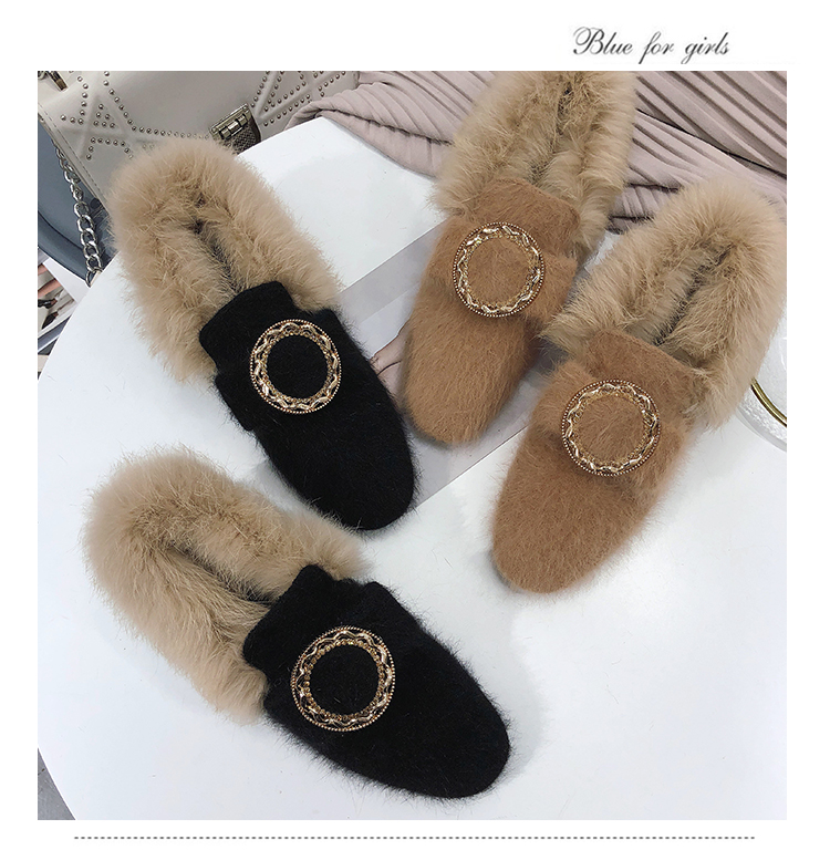 All-Match Shoes Woman 2019 Dress Flats Women Shallow Mouth Loafers Fur Modis Women's Moccasins Round Toe Casual Female Sneakers 46