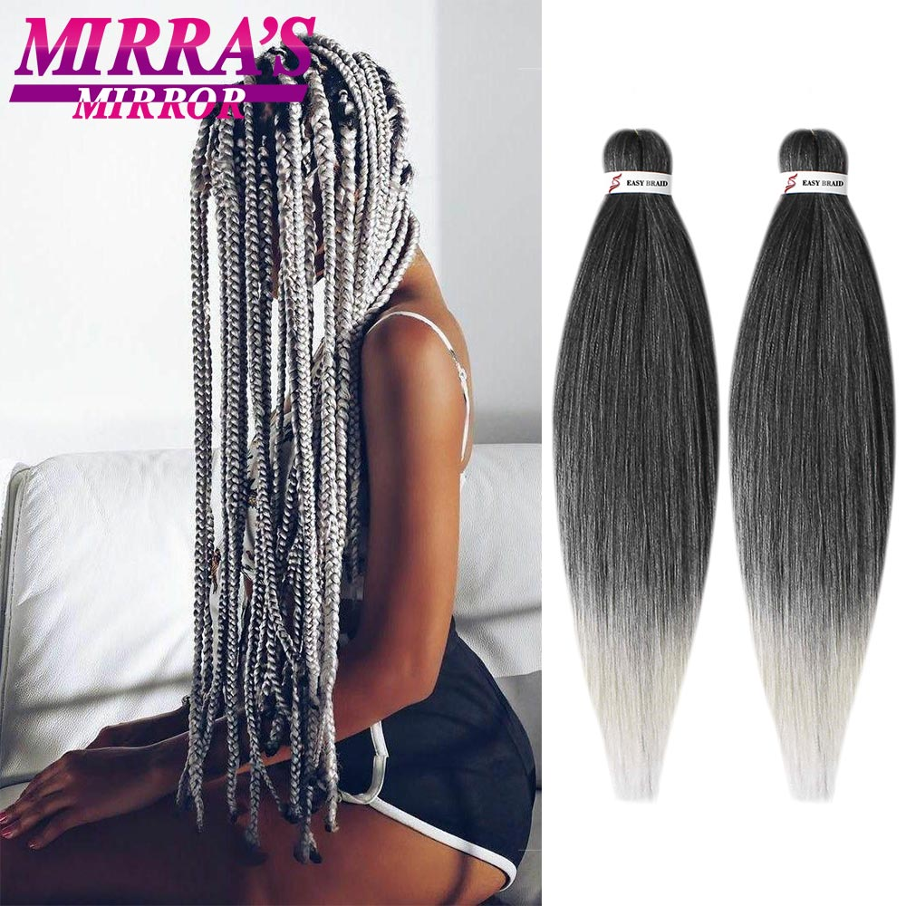 Mirra's Mirror Easy Jumbo Braids Hair Ombre Pre Stretched Braiding Hair Synthetic Crochet Hair Extension Low Temperature Fiber