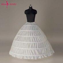Beauty Emily 2019 Big 6 Hoop Ball Petticoat For Wedding Dress White Crinoline Underskirt Wedding Accessories Anágua Crinolina