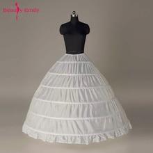 ความงาม Emily 2019 Big 6 Hoop Ball Petticoat สำหรับงานแต่งงานสีขาว Crinoline งานแต่งงานอุปกรณ์เสริม Anágua Crinolina
