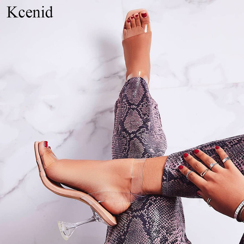 Kcenid 2020 New fashion PVC jelly sandals women open toe ankle strap transparent ladies sandals shoes perspex heel clear shoesHigh Heels   -