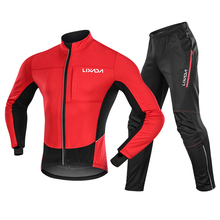 Sportswear Jacket Clothing-Set Pants Bike Winter Cycling Thermal Fleece And Windproof